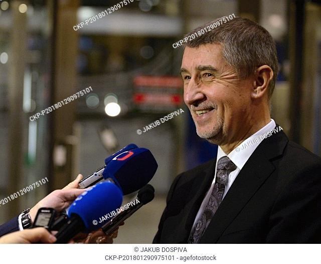 Czech PM Andrej Babis gives a news conference after meeting with EC President Jean-Claude Juncker in Brussels, Belgium, on Monday, January 29, 2018