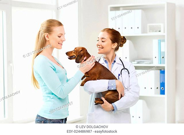 medicine, pet care and people concept - happy woman and veterinarian doctor holding dachshund dog at vet clinic