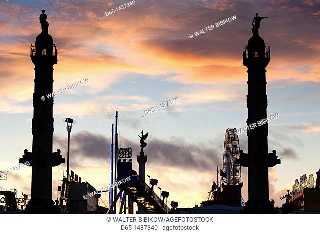 France, Aquitaine Region, Gironde Department, Bordeaux, Esplanade des Quinconces and carnival, sunset