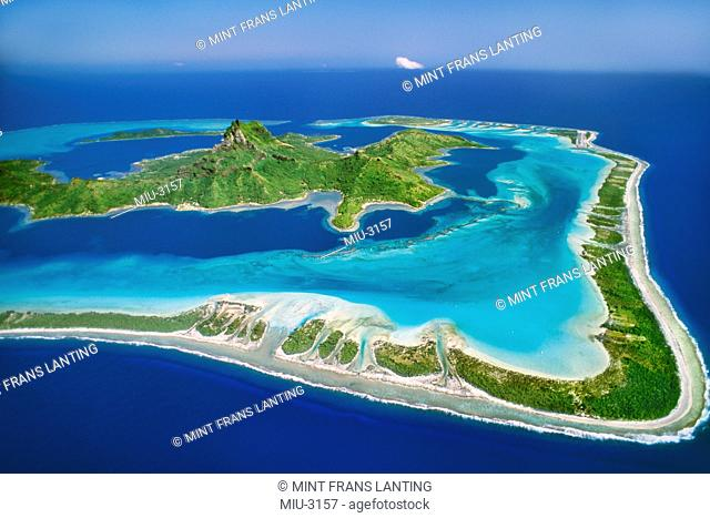 Barrier reef around Mount O' Temanu aerial, Bora Bora, Tahiti