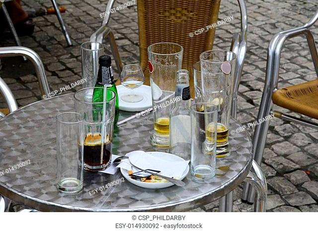 Table at a pavement cafe in Lisbon