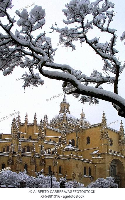 Snow-covered cathedral, Segovia. Castilla-Leon, Spain