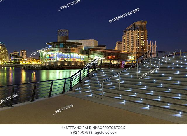 Lowry Theatre illuminated at night, Salford Quays, Manchester, England