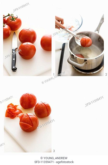 Tomatoes being peeled