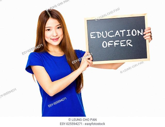 Beautiful asian women asian hold wood blackboard showing education offer