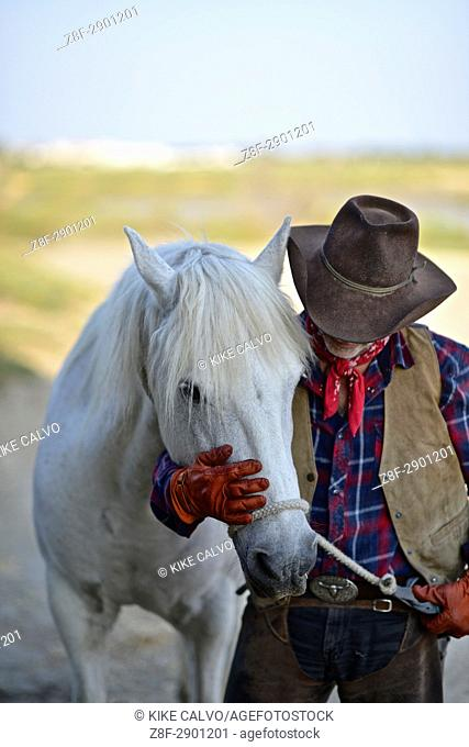 Camague Gardian, a mounted cattle herdsman in the Camargue delta in Provence, southern France