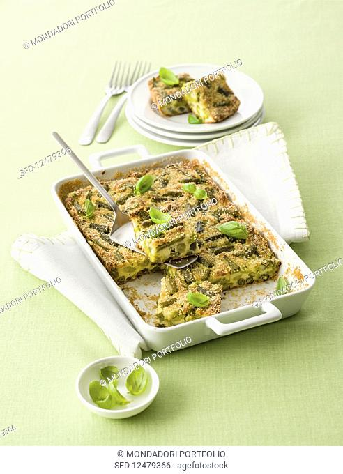 potato and fava bean bake with green beans