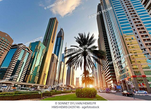 United Arab Emirates, Dubai, Skyline on Dubai, Sheikh Zayed Road