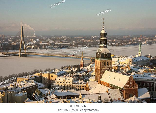 An aerial view over Riga, Latvia