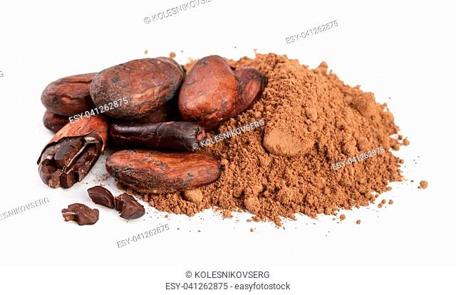 unpeeled cocoa bean with leaf and cocoa powder isolated on white background