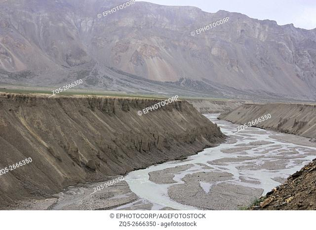 Sand carvings by river near Sarchu, Ladakh, Jammu and Kashmir, India