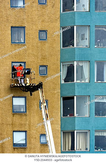 cleaning windows in Reykjavik, in Iceland most windows don't have the possibility of opening all works like cleaning or painting or repairing must be done from...