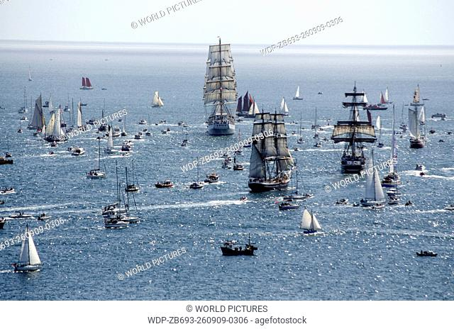 start of Tall Ships Race 2014 Falmouth Cornwall England