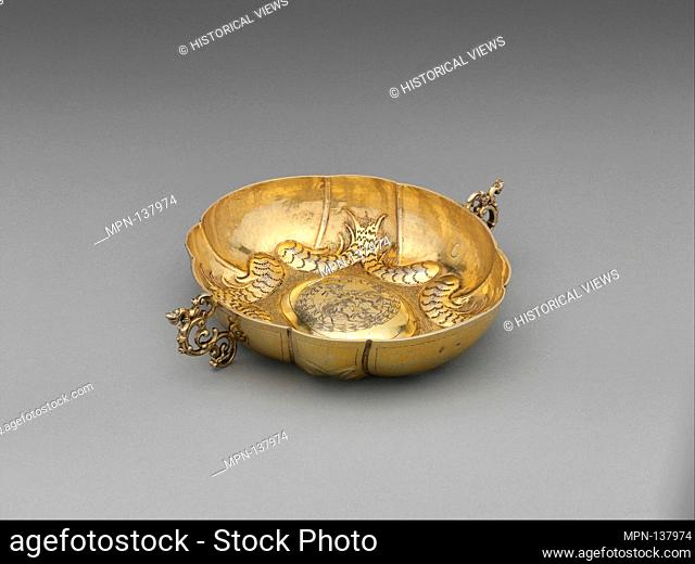 Two-handled bowl. Maker: Péter W. Kecskeméti (ca. 1663-ca. 1680); Date: ca. 1668; Culture: Hungarian, Kassa; Medium: Gilded silver; Dimensions: Overall: 6 5/16...