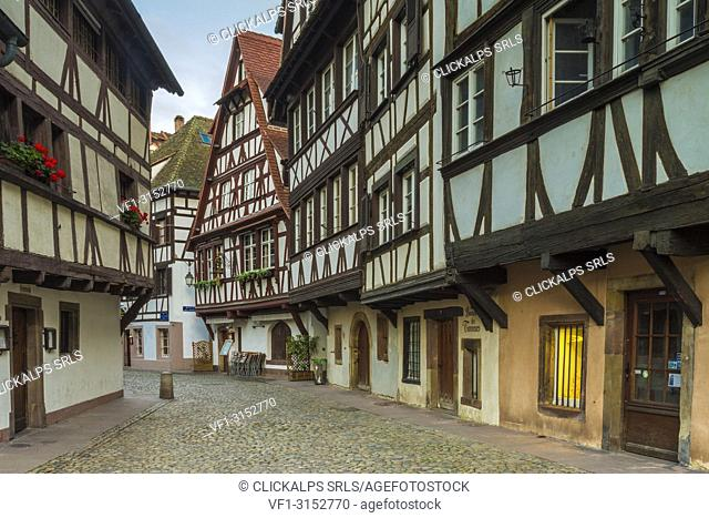 Half timbered houses,Strasbourg, Alsace, Grand Est region, Bas-Rhin, France