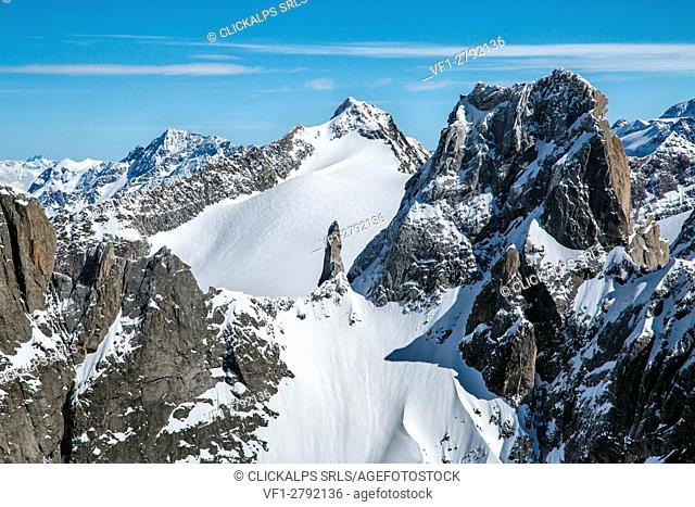 Aerial view of Pizzo Torrone with its famous granitic needle, Valmasino. Valtellina Lombardy Italy Europe