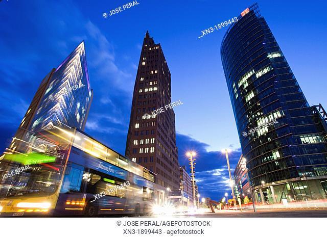 Potsdamer Platz with Daimler Chrysler buiding , Kollhoff Tower, Bahn Tower, Potsdam Square, Berlin, Germany, Europe