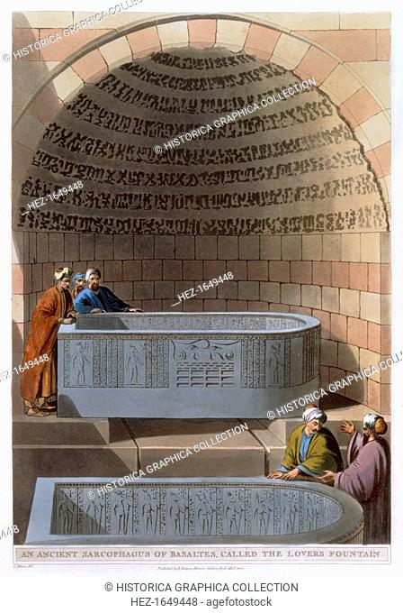 'An Ancient Sarcophagus of Basaltes, called the Lovers Fountain', 1802. Plate 10 from Views in Egypt by Luigi Mayer
