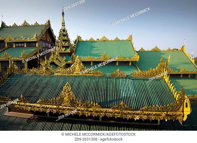 Elaborate temple rooftops at Shwedagon Pagoda