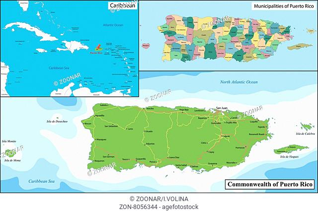Puerto Rico Political Map Stock Photos And Images Age Fotostock