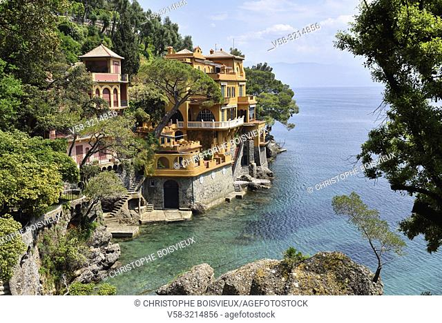 Italy, Liguria, Portofino surroundings, Luxurious villa overlooking the gulf of Genoa