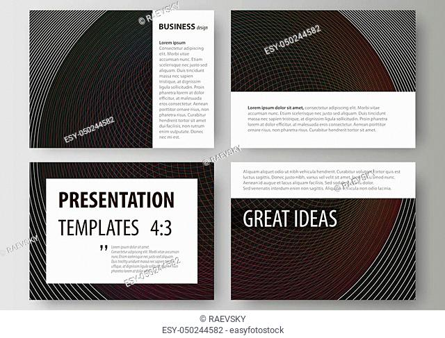 Set of business templates for presentation slides. Easy editable abstract vector layouts in flat design. Dark color modern abstract background with colorful...