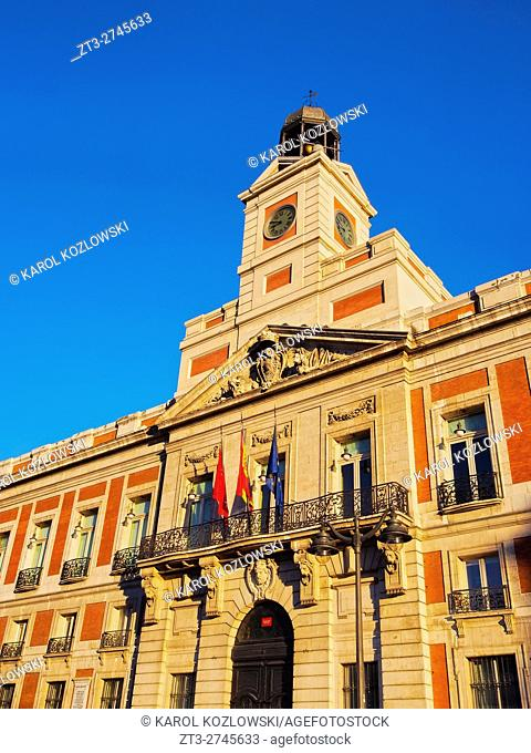 Spain, Madrid, Puerta del Sol, View of the Direccion General de Medios de Comunicacion Buliding