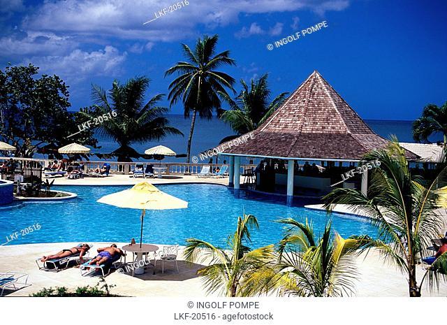 Pool area, Turtle Beach Hotel, Trinidad and Tobago, Caribbean