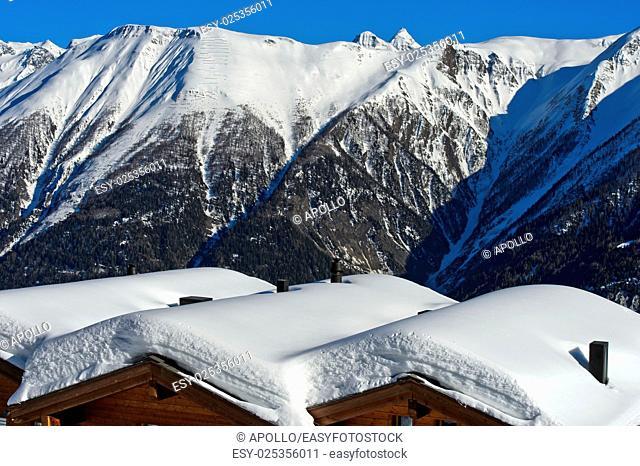 Winter in a mountain village in the Swiss Alps, Bettmeralp, Valais, Switzerland