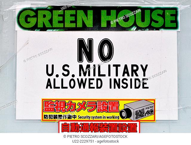 Koza, Okinawa, Japan: sign of a club forbidden to American soldiers