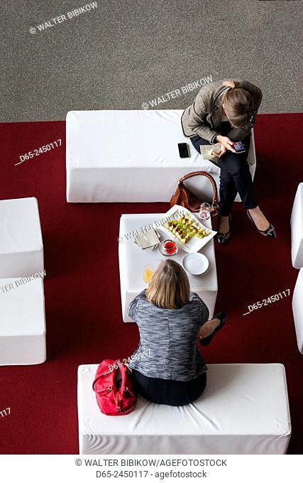 Germany, Bavaria, Munich, BMW Welt company showroom, cafe overview