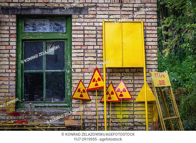 A place for painting warning signs in Pripyat ghost city of Chernobyl Nuclear Power Plant Zone of Alienation around nuclear reactor disaster, Ukraine