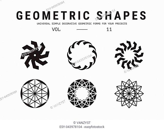 Geometric shapes set. Universal simple decorative forms for your projects. Minimal logo design