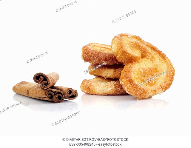 Cookies and sticks cinnamon isolated on white background