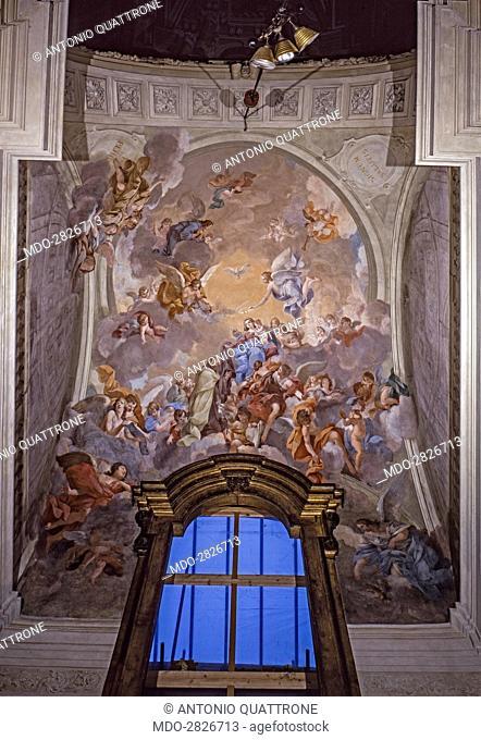 Madonna Giving the Scapular to St. Simon Stock (Madonna che dà lo scapolare a san Simone Stock), by Vincenzo Meucci, 1746-1748, 18th Century, fresco
