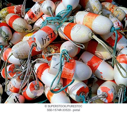 Close-up of a heap of lobster buoys