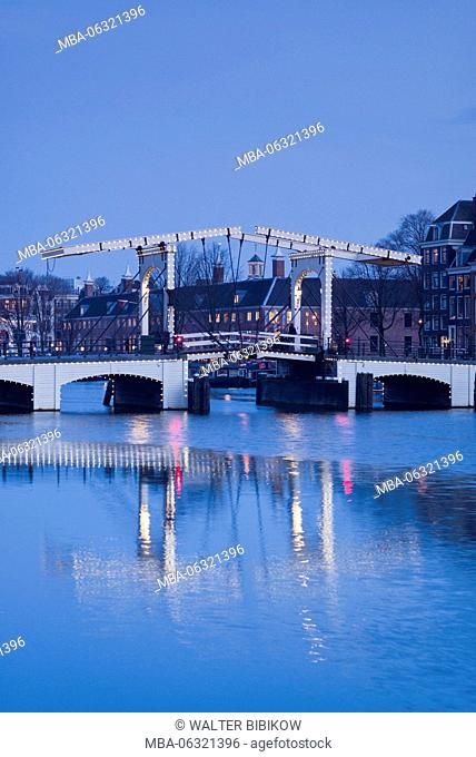 Netherlands, Amsterdam, Magere Brug, the Skinny Bridge, dawn