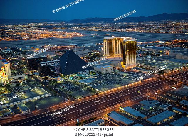 Aerial view of illuminated cityscape, Las Vegas, Nevada, United States