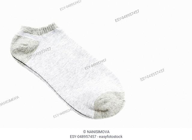 A pair of fashionable striped short socks isolated on white background
