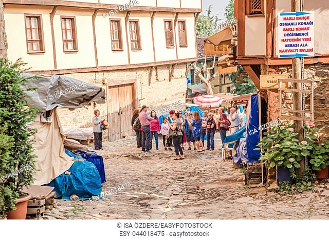 Tourists visit and do shopping at Cumalikizik village,a popular destination for Tourists and locals in Bursa,Turkey. 20 May 2018