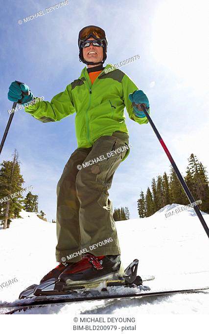 Caucasian man skiing