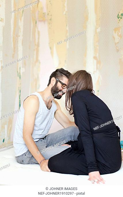 Young couple during renovation