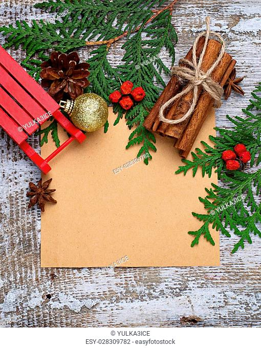 Christmas background with copy space composition. Selective focus