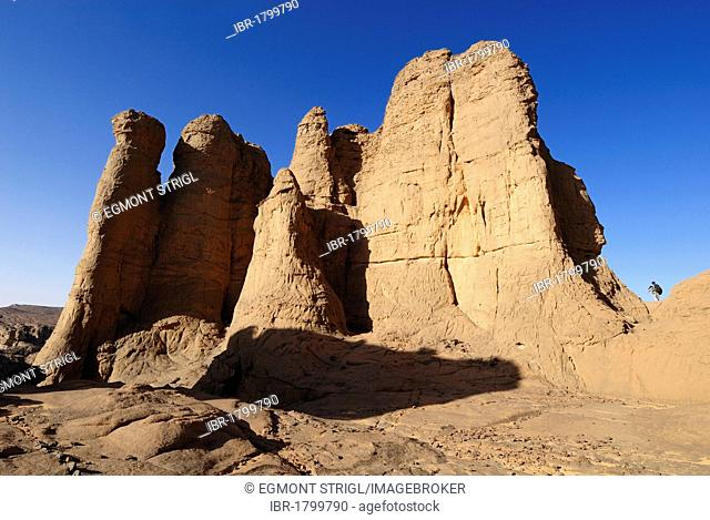 Sandstone rock formation at El Ghessour, Tassili du Hoggar, Wilaya Tamanrasset, Algeria, Sahara, North Africa