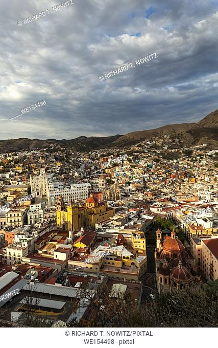 The aerial view of the historic city center of Guanajuato, Mexico