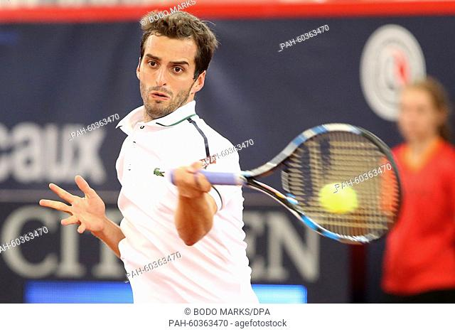 Albert Ramos-Vinolas of Spain in action during his first round match against Nicolas Almagro of Spain at the ATP tennis tournament in Hamburg, Germany