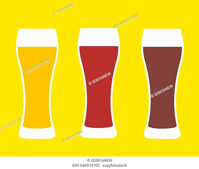 Beer glasses. Three versions light beer, dark beer and amber beer. Isolated vector illustration