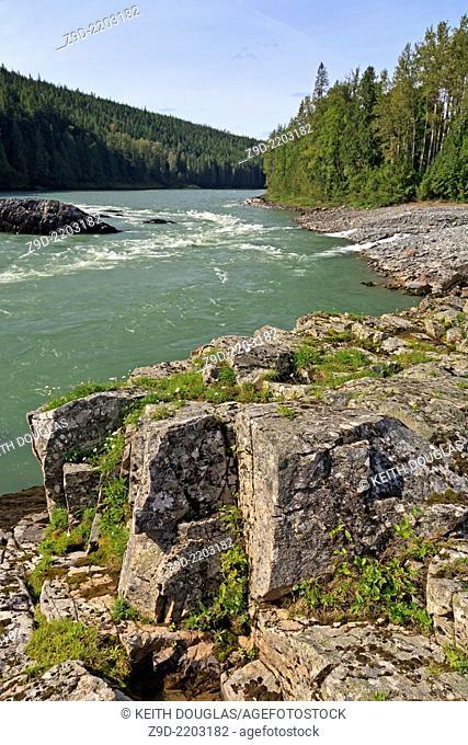 View upstream on Skeena River towards Utson Creek, Hazelton, British Columbia
