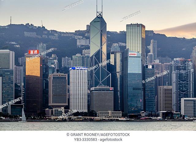 A Classic Hong Kong Skyline At Sunset, Hong Kong, China