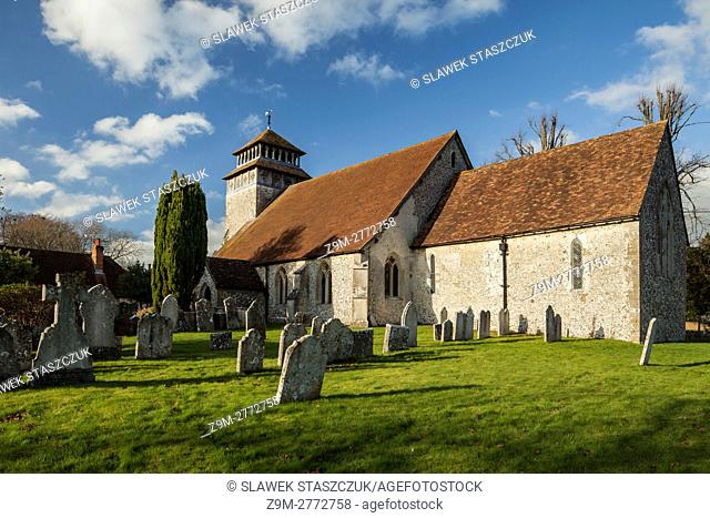 Autumn afternoon at St Andrew's church in Meonstoke village, Hampshire, England